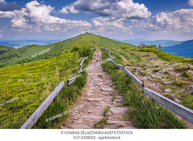 Path to Winnie the Pooh Hut shelter on a Hasiakowa Rock mountain, part of Wetlina Meadows in Western Bieszczady Mountains in Poland