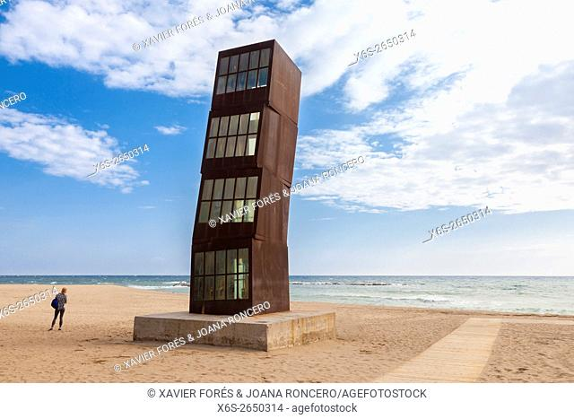 The famous Injured Star - Estel Ferit - monument in Barceloneta beach, Barceloneta quarter, Barcelona, Spain