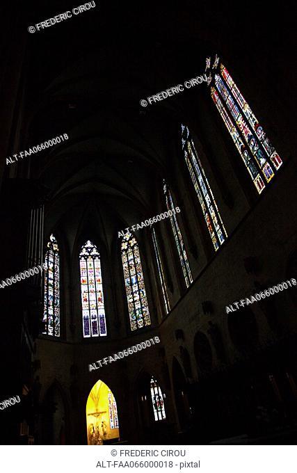 Stained glass windows inside of Saint Martin church, Colmar, France