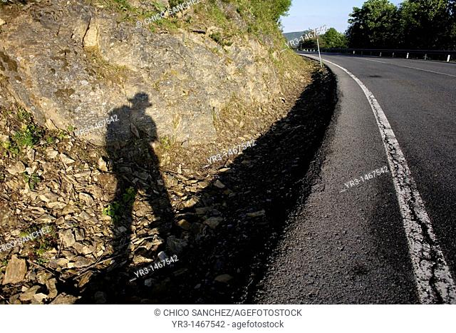 The shadow of a pilgrim is cast as he wlaks in a road in the French Way that leads to Santiago de Compostela, Way of Saint James, Castilla Leon, Spain