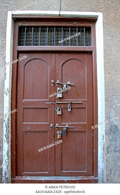 Front door of an apartment building, Stone Town, Zanzibar, Unguja Island, Tanzania