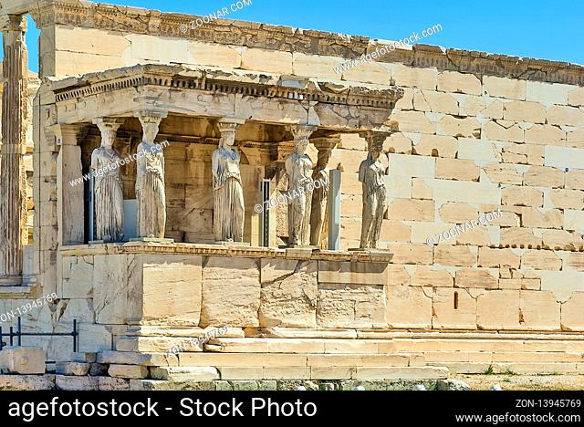 The Erechtheion is an ancient Greek temple on the north side of the Acropolis of Athens in Greece which was dedicated to both Athena and Poseidon