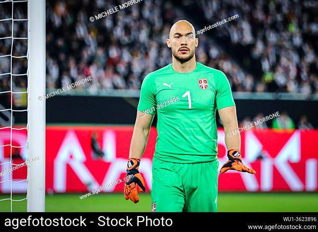 Wolfsburg, Germany, March 20, 2019: Serbian goalkeeper Marko Dmitrovic during the international friendly match between Germany and Serbia at Volkswagen Arena in...