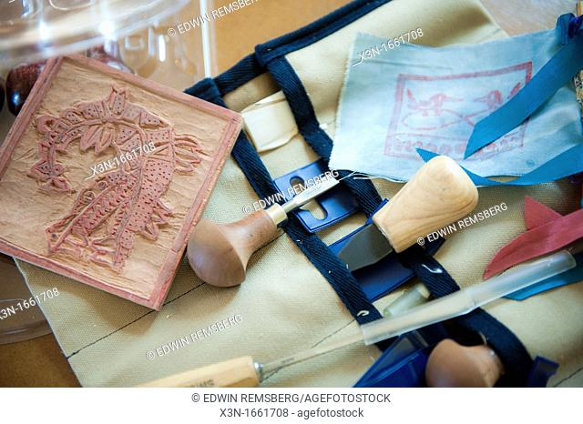 Carving tools and a print block