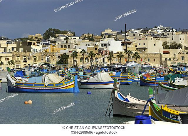 harbour of Marsaxlokk, Malta, Mediterranean Sea, Southern Europe
