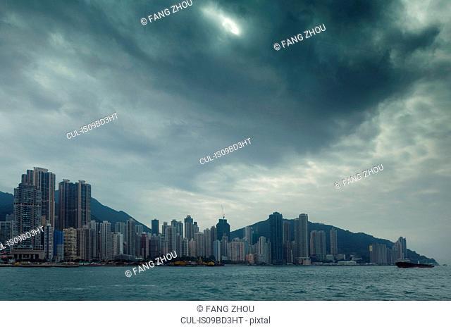 Skyline across water, Hong Kong, China, East Asia