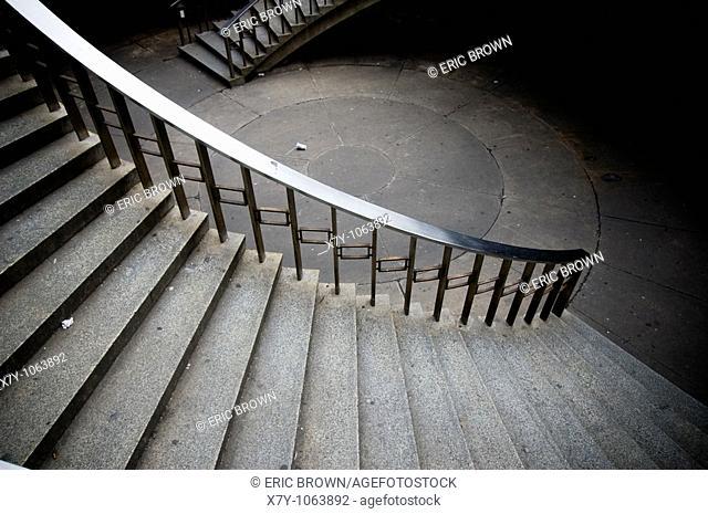 Looking down upon a stairway in Philadelphia, PA