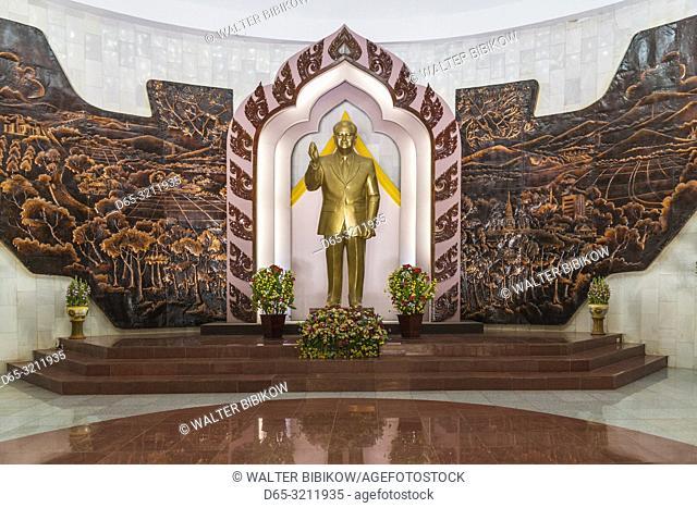 Laos, Vientiane, Kaysone Phomivan Museum, building interior and statue of Kaysone Phomivan, former Lao Communist leader
