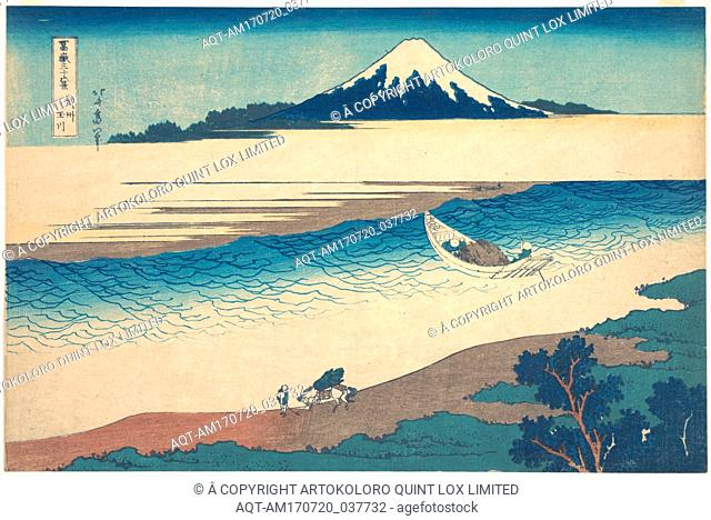 冨嶽三十六景 武州玉川, Tama River in Musashi Province (Bushū Tamagawa), from the series Thirty-six Views of Mount Fuji (Fugaku sanjūrokkei)