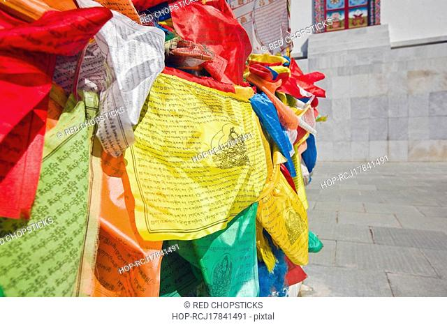 Praying flags in a temple, Bai Ta, Hohhot, Inner Mongolia, China