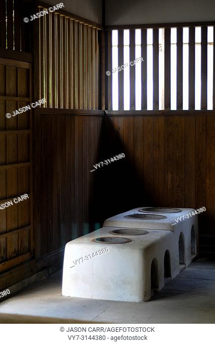 Kitchen of the Japanese Old House located in Shizuoka, Japan. The house in Japan is usually made of wood and good air system for both summer and winter