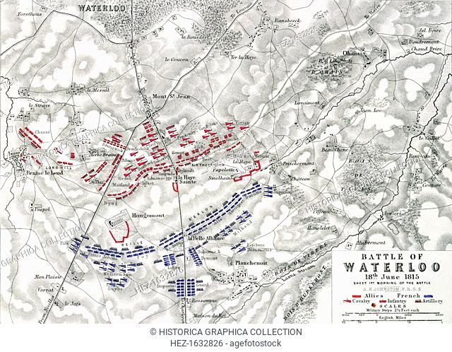 Map of the Battle of Waterloo, 18th June 1815 (19th century). Battle plan showing the positions of the British and French armies at the outset of the battle