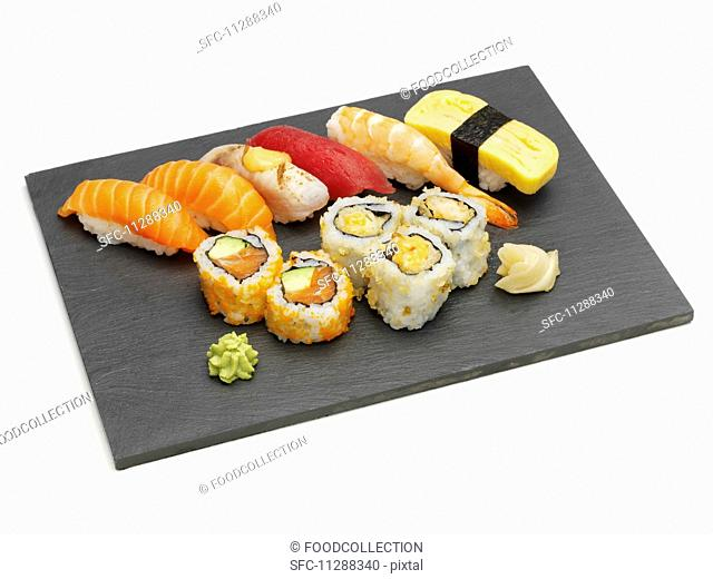 Sushi platter with nigiri and maki sushi