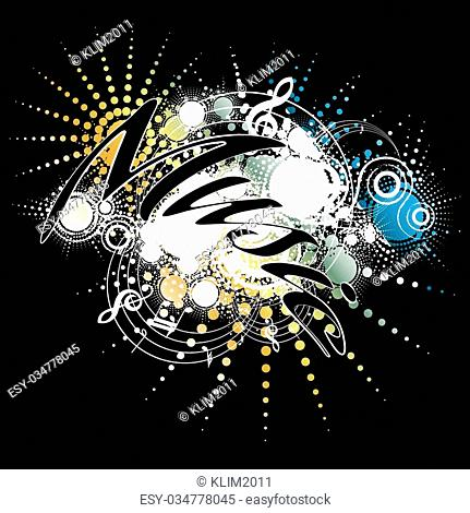 Music , abstract composition on black, vector illustration
