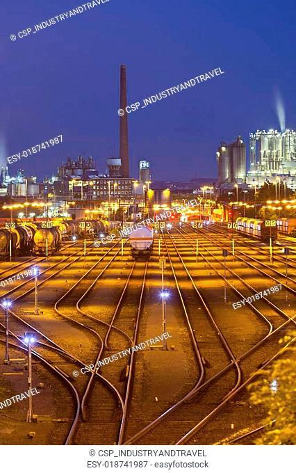 Railroad Yard And Industry At Night