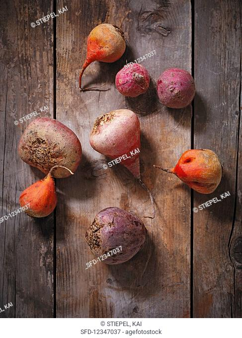 Beetroots on a wooden background