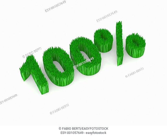 100 percent green 3d illustration