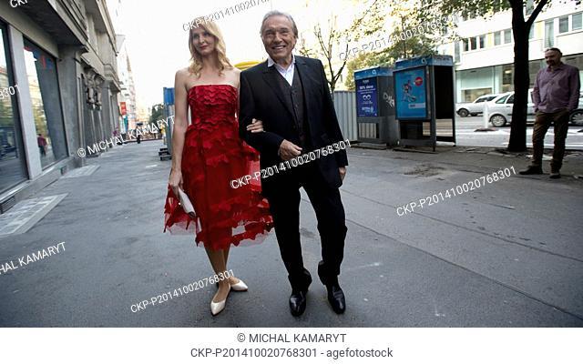 Czech famous pop singer Karel Gott and his wife Ivana Gottova pose for photographers in Prague, Czech Republic, October 2, 2014