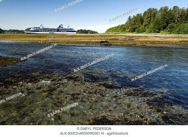Celebrity Cruise ship Infinity anchored at low tide with the Indian River in the foreground at Sitka during Summer in Southeast, Alaska