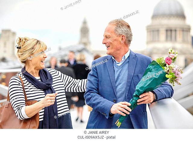 Greet church stock photos and images age fotostock romantic mature dating couple greeting on millennium bridge london uk m4hsunfo