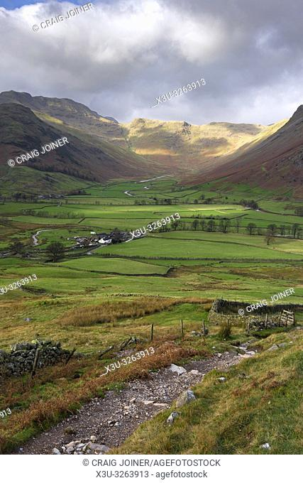 Autumnal view of the Langdale Valley towards Bow Fell in the Lake District National Park, Cumbria, England