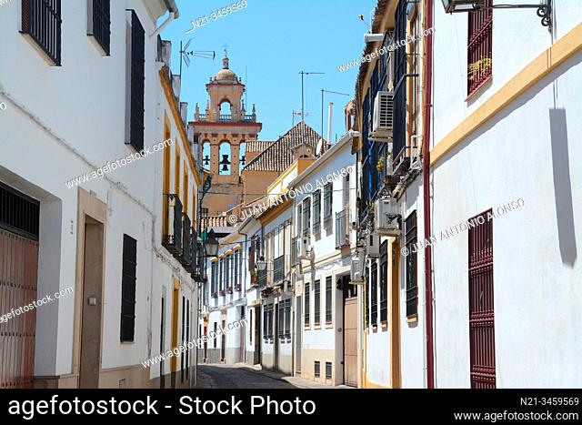 Calle Montero. In the background, San Agustin Church bell tower. City of Cordoba, Andalucia, Spain, Europe