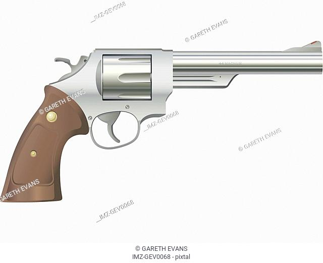 A picture of a silver .44 Magnum cartridge