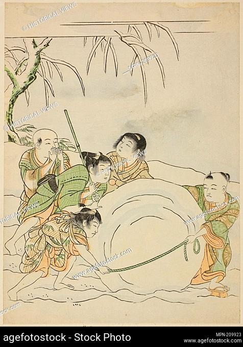 Five Young Boys Rolling a Large Snowball - c. 1772 - Attributed to Isoda Koryusai Japanese, 1735-1790 - Artist: Isoda Koryusai, Origin: Japan, Date: 1767–1777