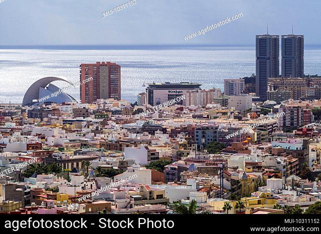 Spain, Canary Islands, Tenerife Island, Santa Cruz de Tenerife, elevated view of city and the Auditorio de Tenerife designed by architect Santiago Calatrava