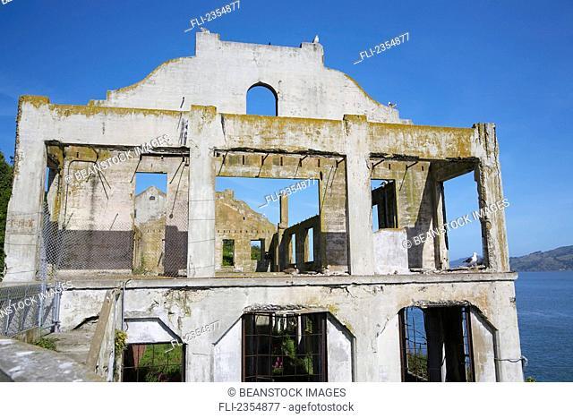 Ruins at Alcatraz prison on Alcatraz Island; San Francisco, California, USA