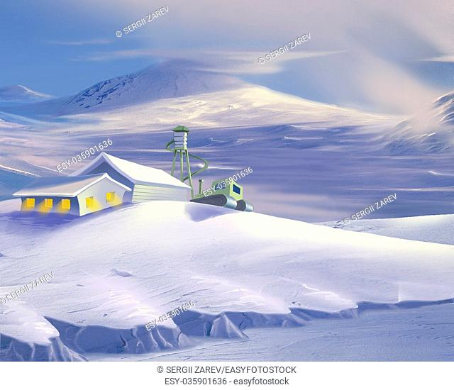 Digital Painting, Illustration of a Polar Research Station in Antarctica in Realistic Cartoon Style