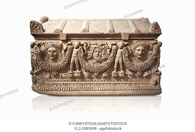 "Picture of Roman relief sculpted Sarcophagus of Garlands, 2nd century AD, Perge. This type of sarcophagus is described as a """"Pamphylia Type Sarcophagus"""""