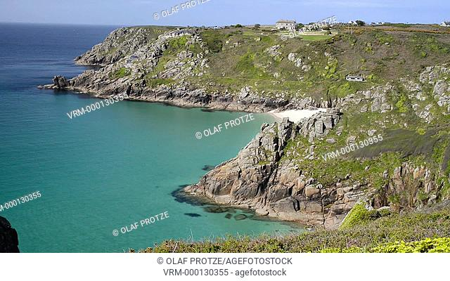 Scenic view over the beach and coastline near Porthcurno, Cornwall, England, UK