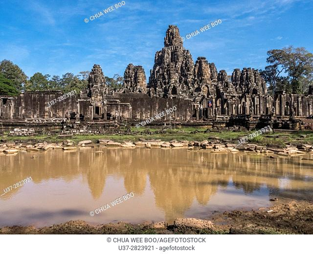 The Bayon at Angkor Thom, the largest Khmer city ever built was the state temple of Jayavarman VII and is a part of the Angkor Wat complex - Siem Reap, Cambodia