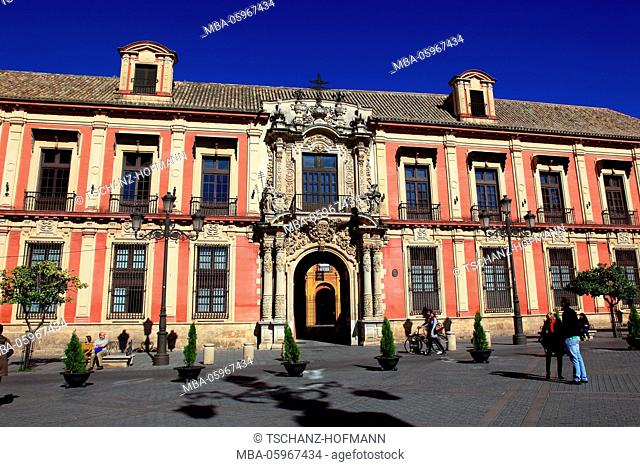 Spain, Andalusia, old town of Seville, Palacio Arzobispa, palace of the archbishop on the Plaza de la Virgen de los Reyes
