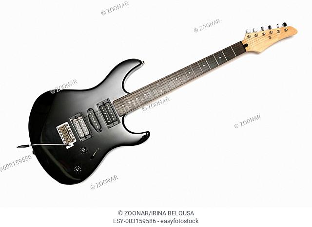 Black Electric Guitar With Six Strings isolated