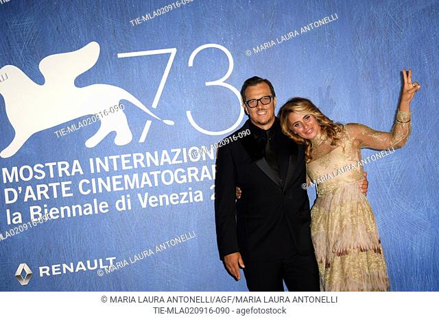 The director Gabriele Muccino with wife Angelica Russo during the red carpet of film L'Estate addosso at 73rd Venice Film Festival, Venice, ITALY-01-09-2016