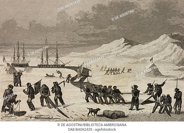 Men opening a channel between the ice to move boats to the main water, circumpolar regions, engraving by Vernier from Chili, Paraguay, Buenos-Ayres