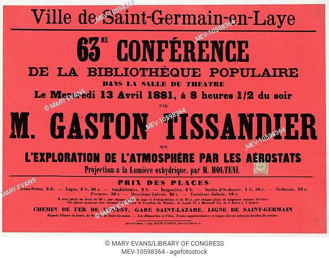 Ville de Saint-Germain-en-Laye. 63me conference de la bibliotheque populaire dans la salle du theatre, le mercredi 13 avril 1881 .. par M