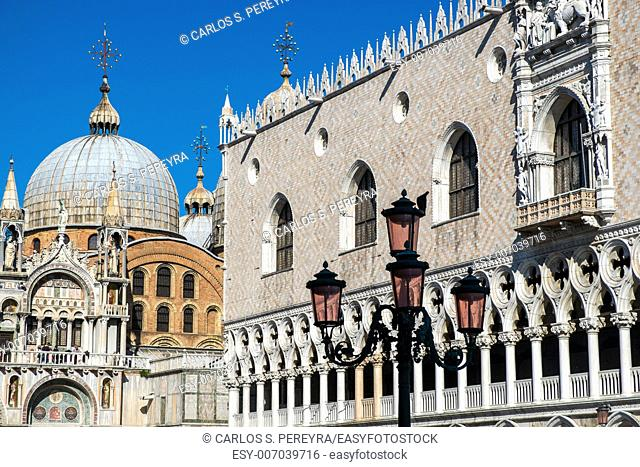 Cathedral of San Marco (San Marco basilica) in Venice, Italy with seagull flying above in the sky. View from San Marco square