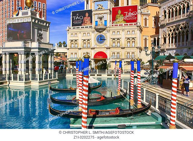 Gondola rides outside the Doges Palace at the Venetian hotel in Las Vegas, Nevada