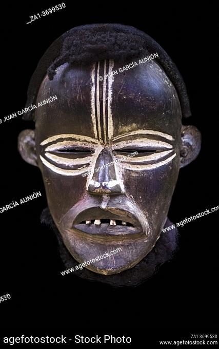 African tribal mask from Dan people. Mande ethnic group from Ivory Coast