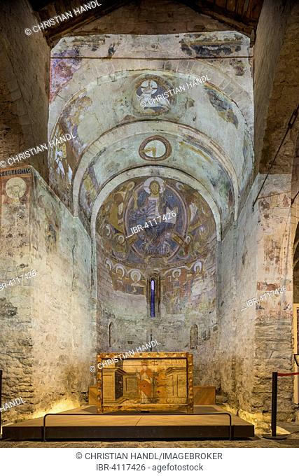 Projection of the frescoes in the Romanesque church of Sant Climent de Taüll, Unesco World Heritage Site, Vall de Boí, Taüll, Catalonia, Spain