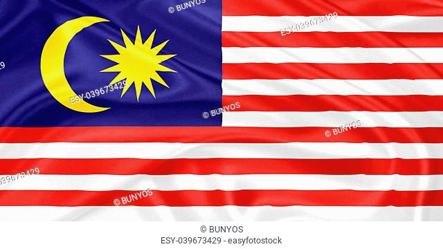 flag of Malaysia waving with highly detailed textile texture pattern