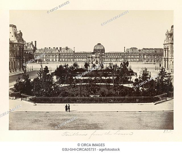 Tuileries from Louvre Museum, Paris, France, Silver Albumen Print, Edouard Baldus, 1860's