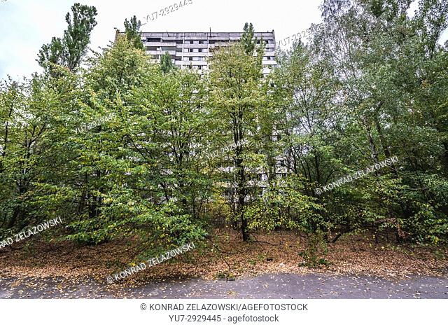 16-stored block of flats in Pripyat ghost city of Chernobyl Nuclear Power Plant Zone of Alienation around nuclear reactor disaster in Ukraine