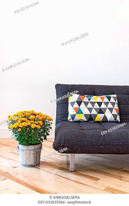 Orange chrysanthemums and gray sofa decorated with bright cushion