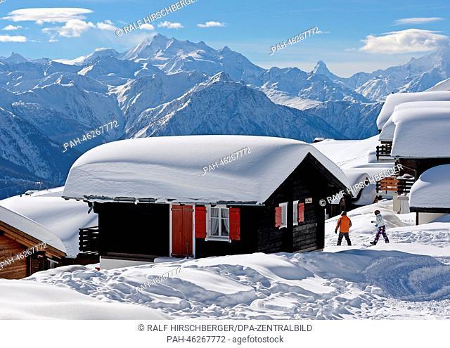 The snow glistens during bright sunshine on the alp near Eggishorn mountain near Fiesch in Switzerland, 06 February 2014