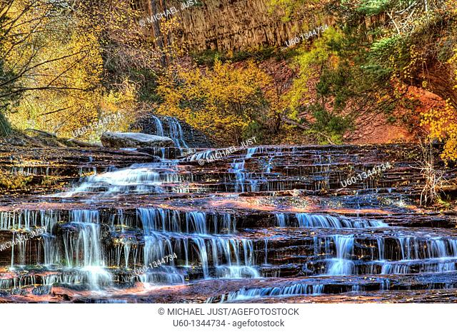 Water trickles in late autumn on the left fork of North Creek at Zion National Park, Utah