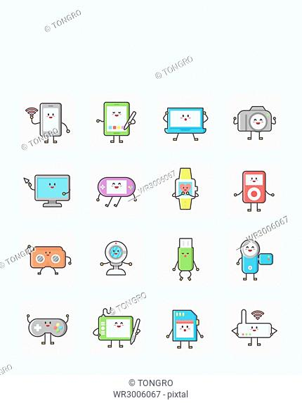 Icon set related to electric equipment
